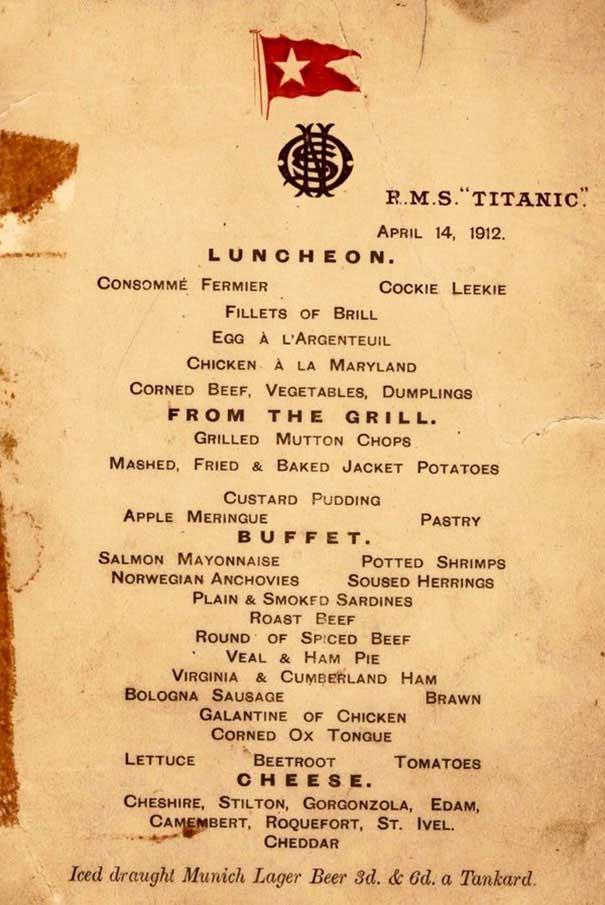 titanic-منو غذایی 1