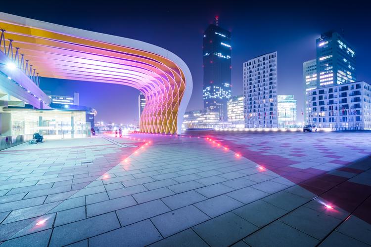 Modern buildings at night, at Donau City in Vienna, Austria.